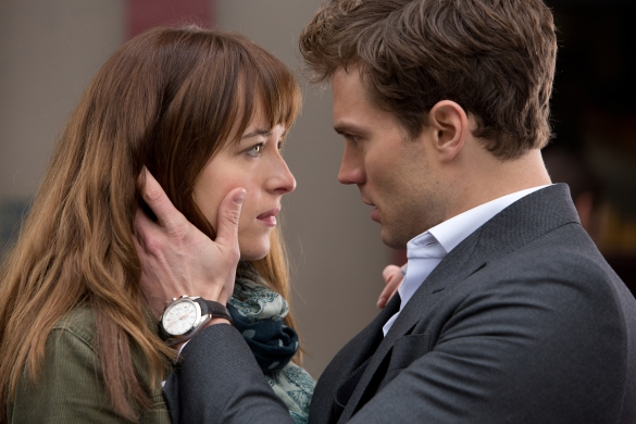 To alleviate the boredom between takes (and the boredom of the screenplay), DAKOTA JOHNSON and JAMIE DORNAN have a staring contest to stoke their actorly fires.
