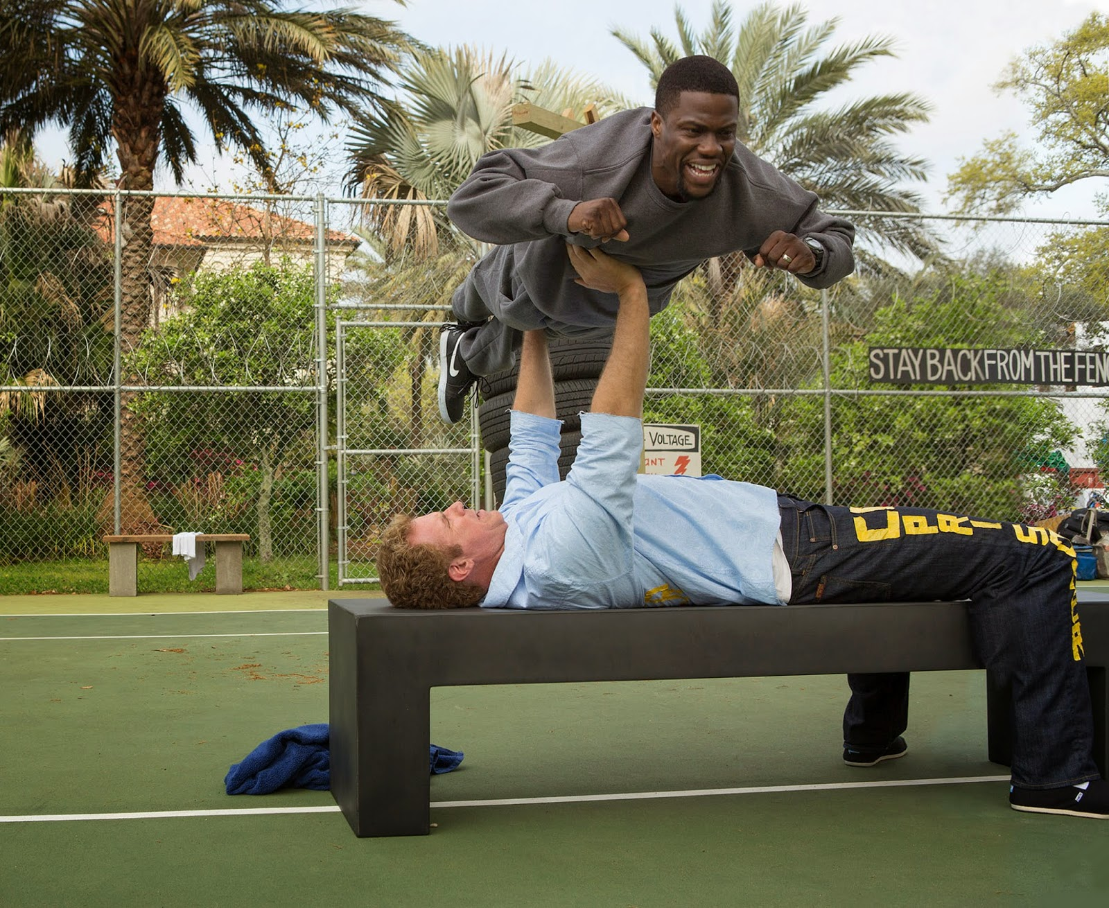 A rare funny use in GET HARD of the height and weight disparity of its stars.