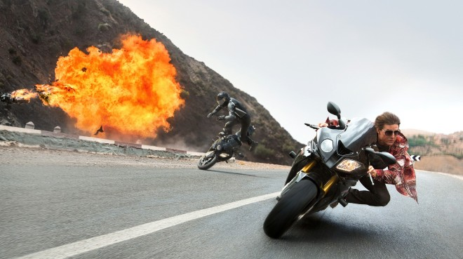Tom Cruise Riding a Motorcycle in Mission: Impossible - Rogue Nation