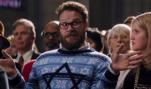 Seth Rogen and Jillian Bell in THE NIGHT BEFORE
