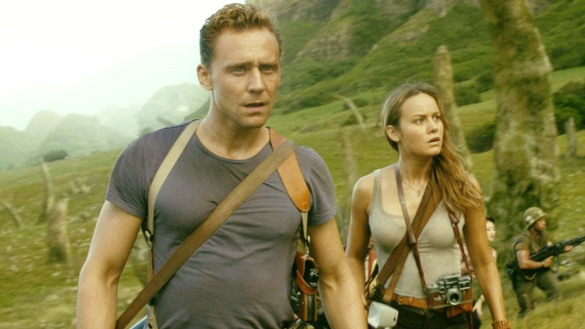 Tom Hiddleston and Brie Larson looking puzzled in KONG: SKULL ISLAND