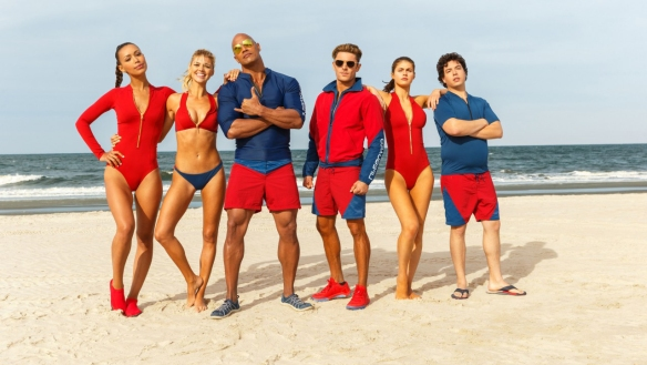 The cast of BAYWATCH looking way cooler in this photo than they do in the movie.