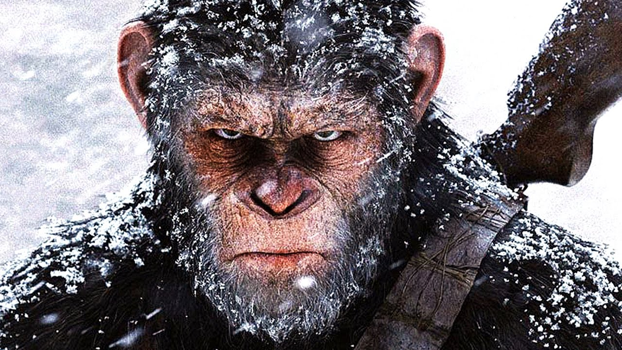 Caesar covered in snow in WAR FOR THE PLANET OF THE APES.
