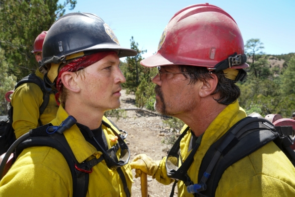 """Supe"" Eric Marsh (Josh Brolin) berates Brendan McDonough (Miles Teller) during training in Prescott National Forest in Columbia Pictures' ONLY THE BRAVE, THE TRUE STORY OF THE GRANITE MOUNTAIN HOTSHOTS."