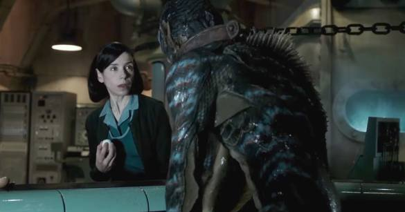Sally Hawkins staring at amphibious creature in THE SHAPE OF WATER.