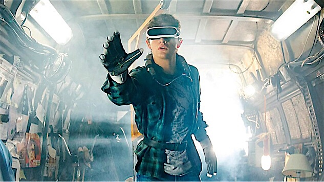 Tye Sheridan wearing VR gear in READY PLAYER ONE.