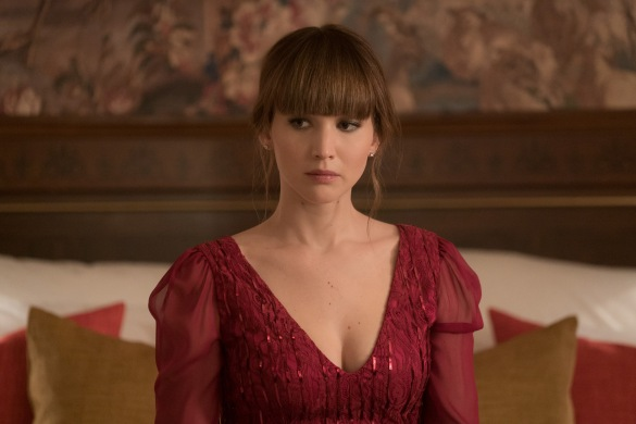 Jennifer Lawrence wearing red in RED SPARROW.