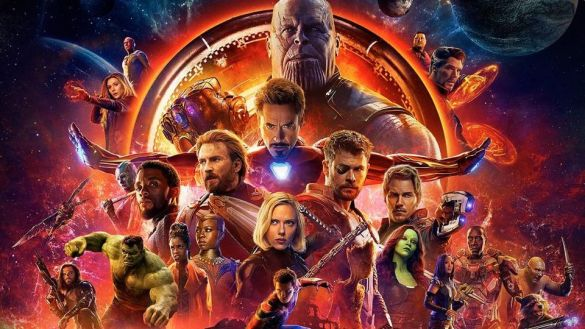 Poster showing characters in Avengers: Infinity War with Iron Man and villain Thanos at the top center.