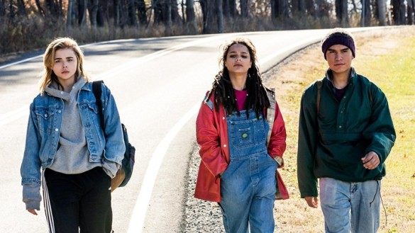 Chloe Grace Moretz, Sasha Lane, and Forrest Goodluck walk down a lonely road in The Miseducation of Cameron Post