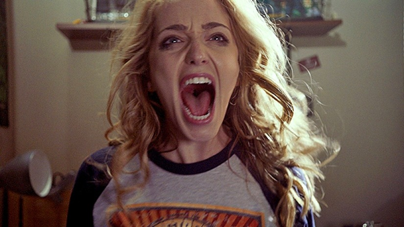Jessica Rothe screaming angrily in the movie Happy Death Day 2 U