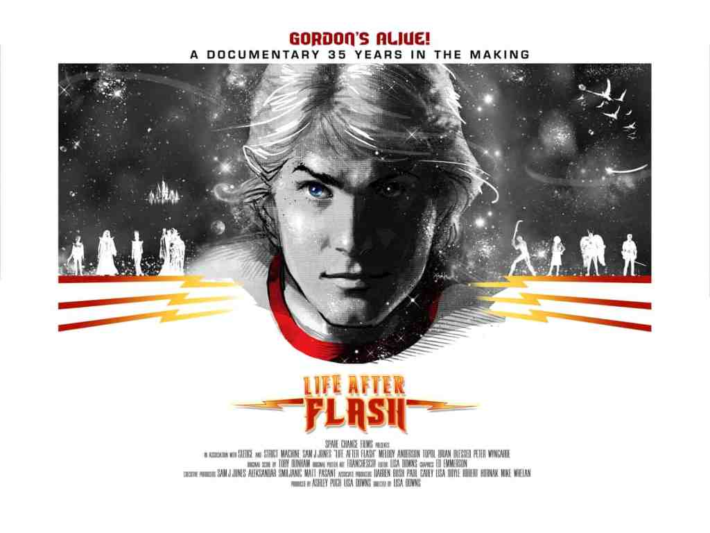 The poster for the documentary Life After Flash with a stylized image of Sam Jones in black and white with half his face in shadow.