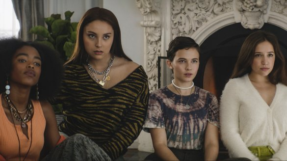Lovie Simone, Zoey Luna, Cailee Spaeny, and Gideon Adlon in Zoe Lister-Jones' The Craft: Legacy