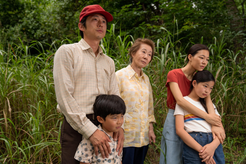 Steven Yeun, Han Ye-ri, Alan Kim, Noel Kate Cho, and Youn Yuh-jung in Lee Isaac Chung's MINARI
