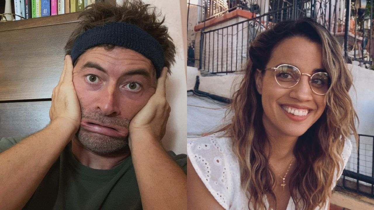In a split-screen from the movie Language Lessons, Mark Duplass stretches his face in a funny way, while Natalia Morales laughs