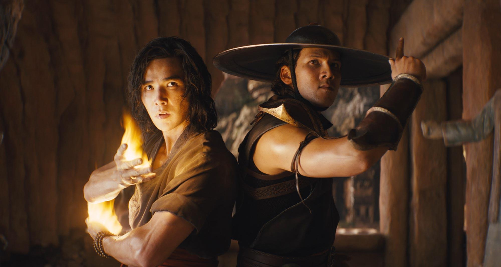 Ludi Lin as Liu Kang and Max Huang as Kung Lao in film Mortal Kombat