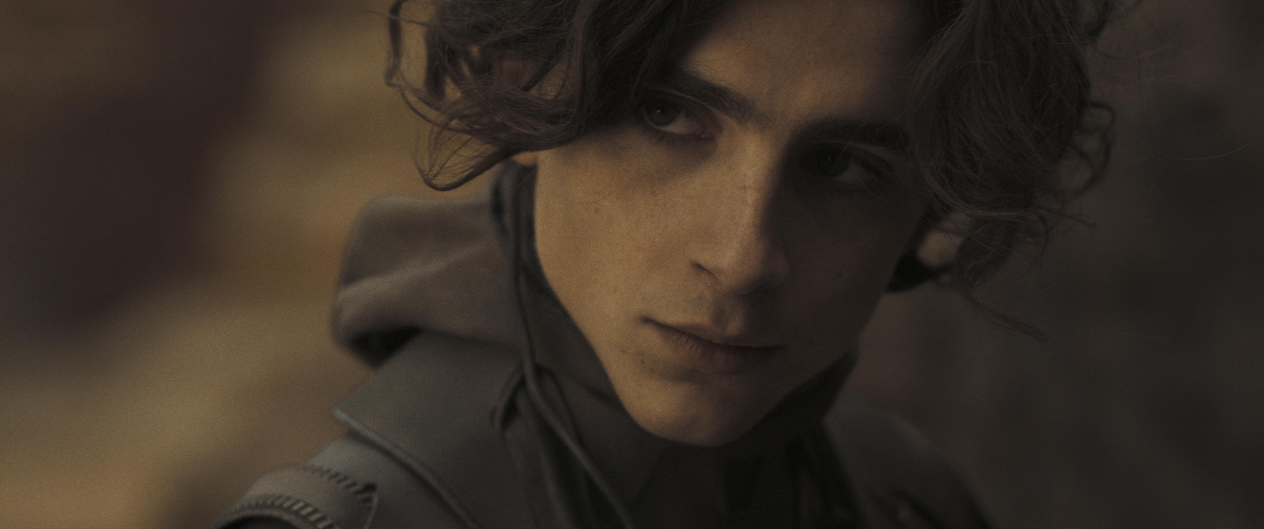 Timothee Chalamet looks pensively in Denis Villeneuve's film adaptation of Dune